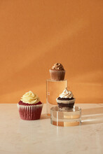 Close Up View Of Various Sweet Cupcakes Isolated On Cozzy Background