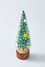 New Year Tree Synthetic With Balls Decotation.