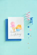 Minimal Styled Greeting Card Flatlay In Pastel Colors.