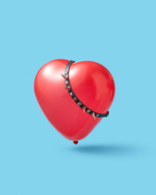 Red Heart Balloon With Spikes Collar.