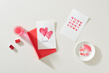 Close Up Of Envelope With Valentines Day Greeting.