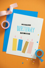 Happy Birthday. Stylish Craft Present With Greeting Card