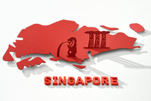 Singapore Famous Landmarks In Paper Cut Style. Travel Concept.