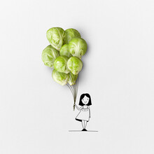 The Sketch Of Girl With Bunch Of Sprouts.
