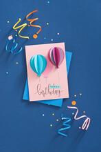 Happy Birthday Card With Balloons. Handmade.