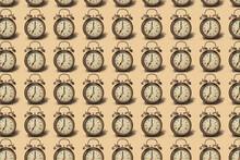 Geometric Old Bronze Alarm Clocks Pattern With Soft Shadows.