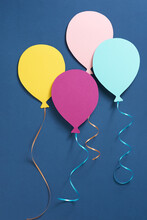 Happy Birthday Card With Balloon On Blue Background