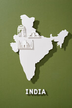 India Map With Famous Landmarks In Paper Cut Style
