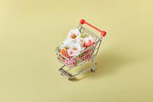 Fresh Organic Flowers In The Shopping Cart.