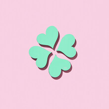 Handmade Paper Green Shamrock's Four Petals.