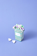 Food Paper Box With Colored Hearts As A Holiday Cookies.