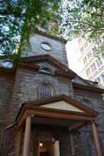 New York, NY, USA - JUNE 2, 2019: Saint Paul's Chapel Of Trinity Church Near Wall Street