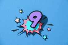 Paper Cut With Number 9 On Speech Bubble.