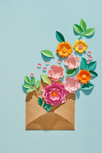 8 March. Opened Brown Envelope Full Of Varios Colorful Paper Flowers.