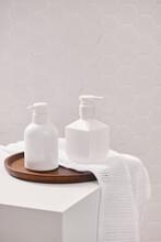 Liquid Soap And Shampoo Bottle On Basket