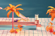 Lotion Bottle In Miniature Swimming Pool, Paper Craft Style