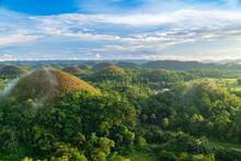Summer Landscape Of Chocolate Hills In Bohol, Phillipines.
