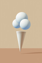 Plaster Cone And Balls As An Ice-cream.