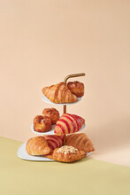Ceramic Stand With Homemade Croissants.