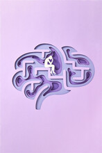 Papercraft Framework Of Human Brain With Paper Thinker.