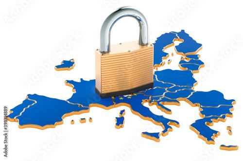 Fototapeta Lockdown in the European Union. Padlock with map, border protection concept. 3D rendering obraz