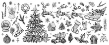 Christmas Hand Drawn Decorations, Vector Elements. Traditional Christmas Tree, Truck, Santa Claus, Fir, Wreath.