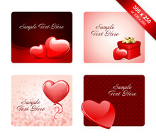 Valentines Day Flyers Postcards Vector Templates Set.