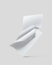Curved White Paper Sheets Falling.