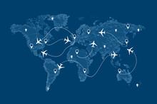 Flight Routs Map With Airplanes On It, Illustration