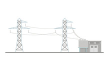 Power Lines And Transformer Substation Building Flat