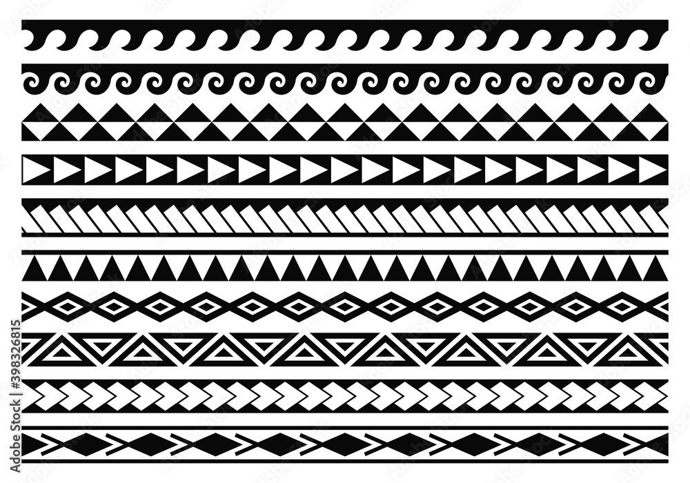 Fototapeta Tribal maori tattoo patterns collection. Abstract aboriginal borders.