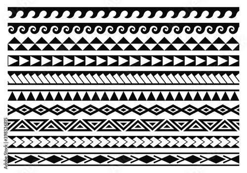 Canvas Print Tribal maori tattoo patterns collection