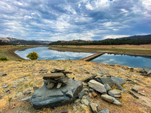 Trail Cairn Leading To Old Salmon Falls Bridge Revealed At Folsom Lake At Low Water