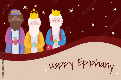 Obraz na plátně happy epiphany, three wise kings snowflakes greeting card