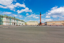 Palace Square With WInter Palace, Alexander Column And  General Staff, Saint Petersburg, Russia