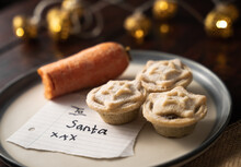 """Composition Of A Carrot And Yummy Mince Pies With A Note """"To Santa"""""""