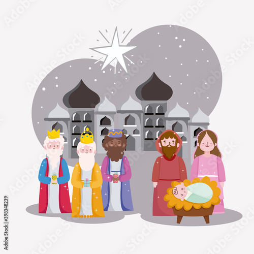 Papel de parede happy epiphany, three wise kings mary jospeh and baby in city of bethlehem