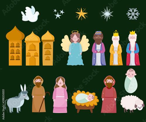 Canvas Print happy epiphany, three wise kings mary joseph baby and animals icons