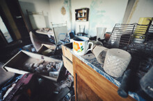 Selective Focus Shot Of  Old Abandoned Messy House