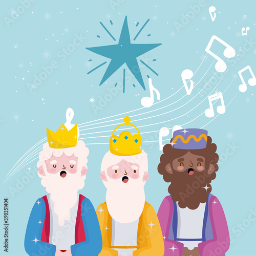 Leinwand Poster happy epiphany, three wise kings sing christmas carols