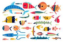 Ocean Fish Doodle Print Set
