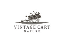 Cart Vehicle Traditional Logo Design, Farming Wagon Wood, Cart Wood Rustic, Traditional Cart Design.