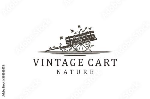 Foto Cart vehicle traditional logo design, farming wagon wood, cart wood rustic, traditional cart design