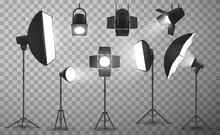 Photo Studio Light Equipment Realistic Vector