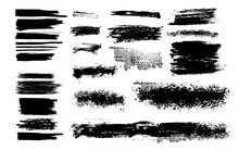 Vector Set Of Grunge Design Elements. Brush Strokes. Vector Illustration