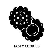 Tasty Cookies Icon, Black Vector Sign With Editable Strokes, Concept Illustration