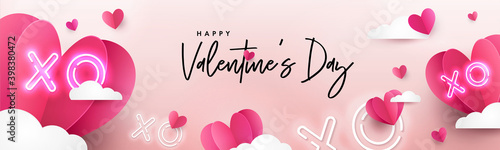 Obraz Valentines Day modern background design for Website header, greeting or Sale banner, flyer, poster in paper cut style with frame made of cute flying Origami Hearts over clouds and neon XO text symbol - fototapety do salonu