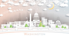Washington DC USA City Skyline In Paper Cut Style With Snowflakes, Moon And Neon Garland.