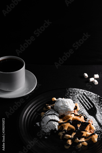 Fotografie, Obraz Belgian waffle with ice cream