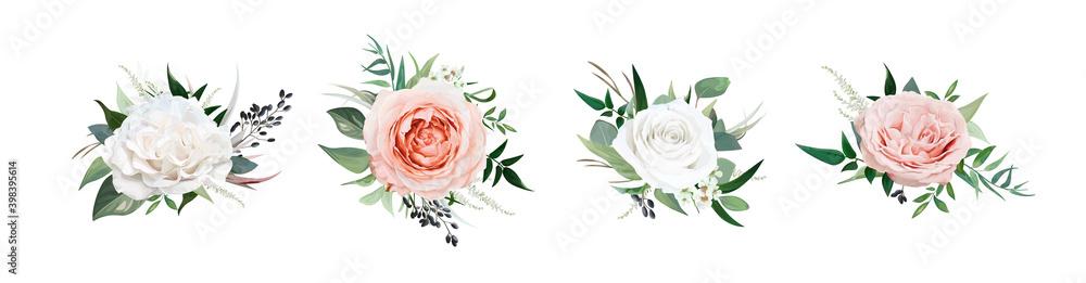 Fototapeta Vector, watercolor style floral bouquet. Blush peach, dusty pink, ivory white Rose flowers, Eucalyptus greenery, berries, tender green leaves, vines. Editable wedding designer element set illustration